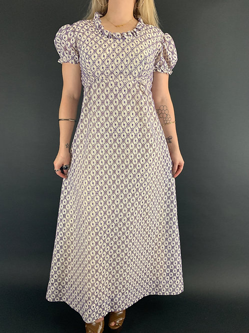 Purple And Ivory Crochet Lace Puff Sleeve Maxi Dress View 1