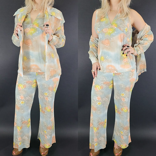 3-Piece Semi Sheer Floral Casual Pantsuit View 1