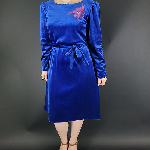 Royal Blue Velvet Long Sleeve Dress With Flower Applique View 1