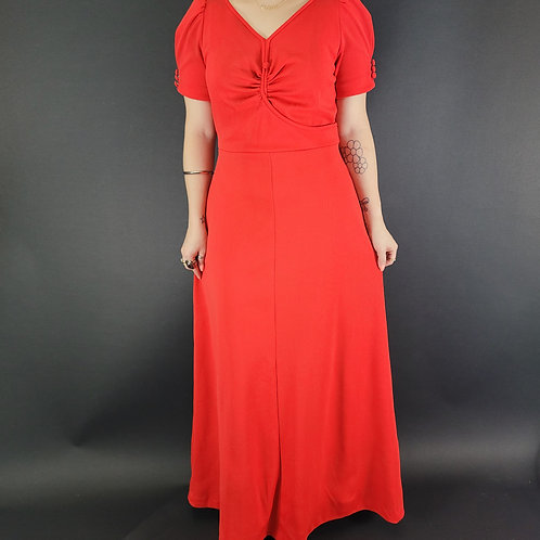 Cherry Red Puff Sleeve Maxi Dress View 1