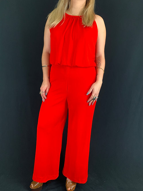 Red Halter Jumpsuit View 1