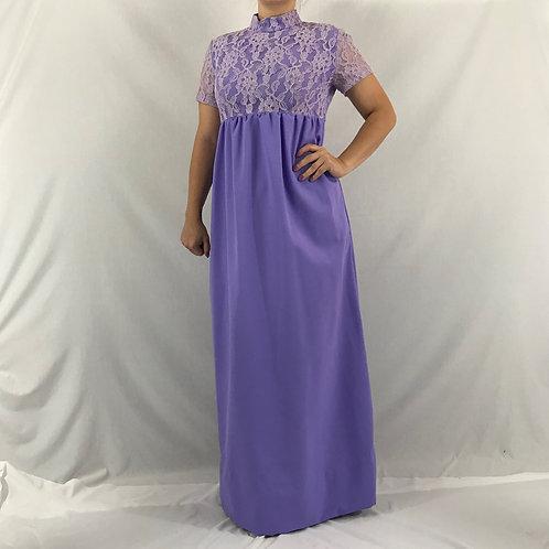 Purple Lace Empire Waist Maxi Dress View 1