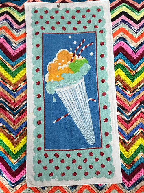 Colorful Ice Cream Cone With Cherries Beach Towel View 1