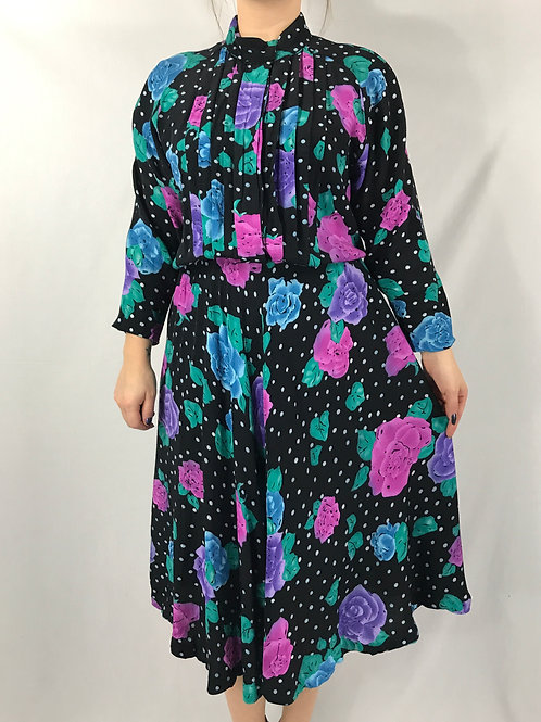 Roses And Polka Dot Print Long Sleeve Shirtwaist Dress View 1