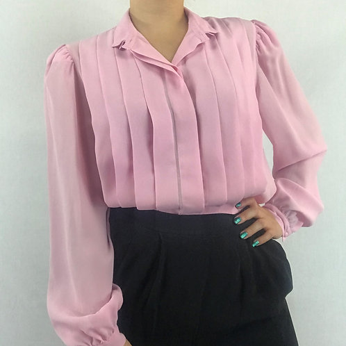 Pink Crepe Pleated Long Sleeve Blouse View 1