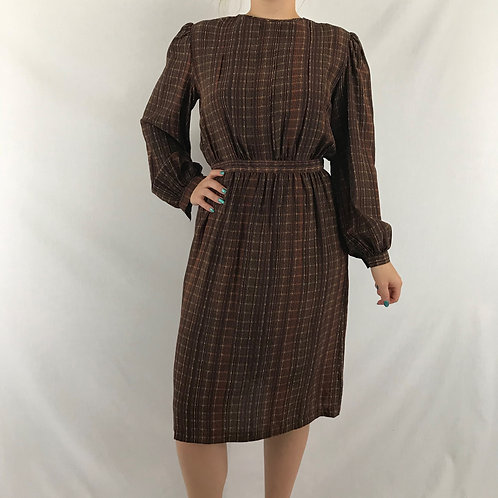 Brown Patterned Long Sleeve Midi Dress View 1