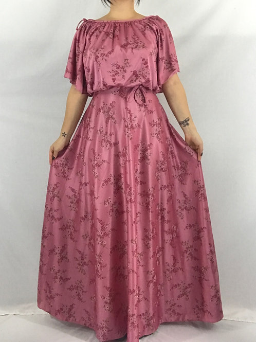 Rose Pink Floral Flutter Sleeve Maxi Dress View 1