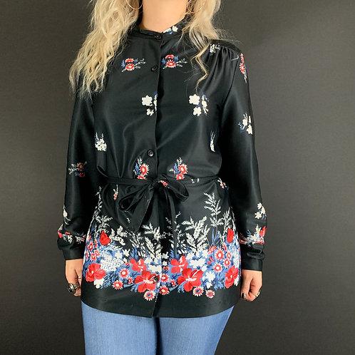 Black Floral Button Down Long Sleeve Blouse View 1