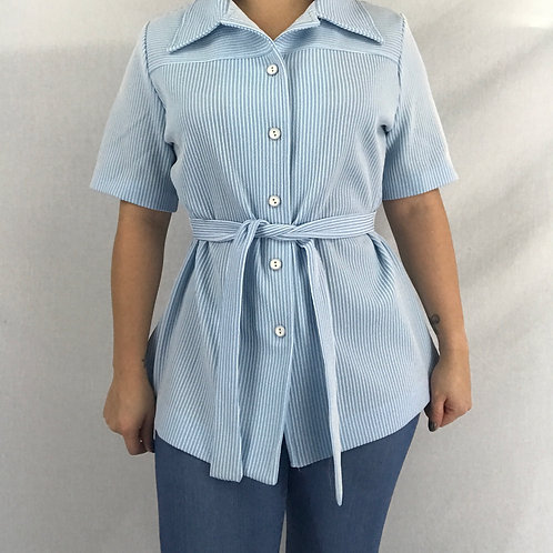 Baby Blue And White Striped Button Up Top With Front Waist Tie View 1