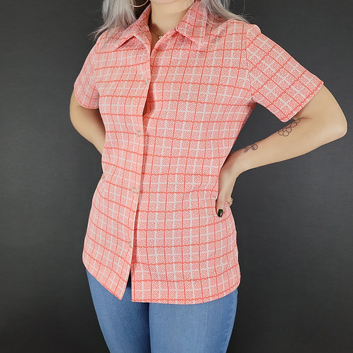 Red Orange And White Grid Print Button Down Blouse View 1
