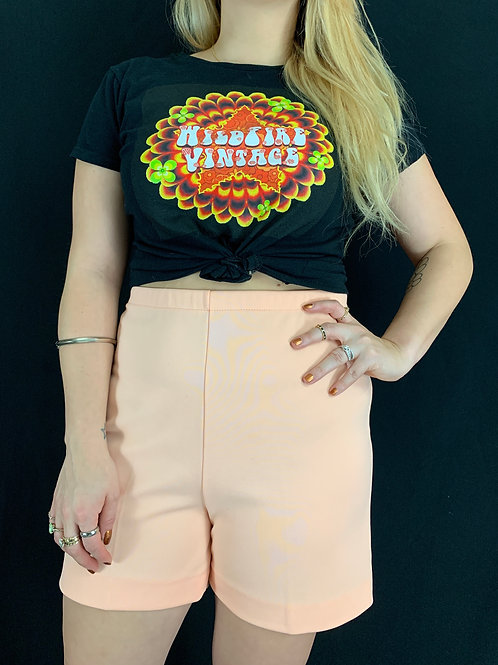 Pale Peach High Waist Shorts View 1