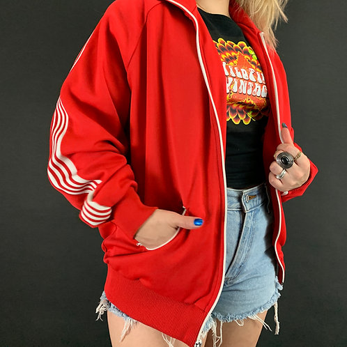 Red Track Jacket With White Stripes View 1