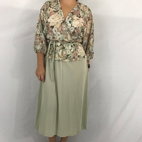 Olive Green Floral Midi Dress With Waist Tie View 1