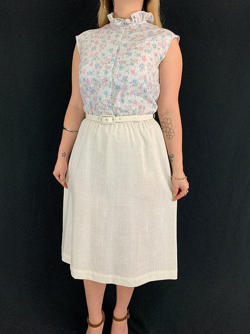 Ruffle Collar Floral Linen Dress With Belt View 1