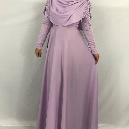 Lilac Draped Long Sleeve Formal Maxi Dress View 1