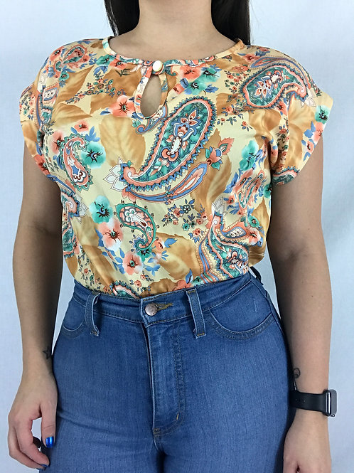 Paisley And Floral Keyhole Neckline Polyester Top View 1