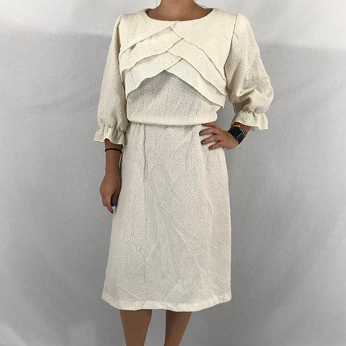 Cream Color Ruffled Midi Dress View 1