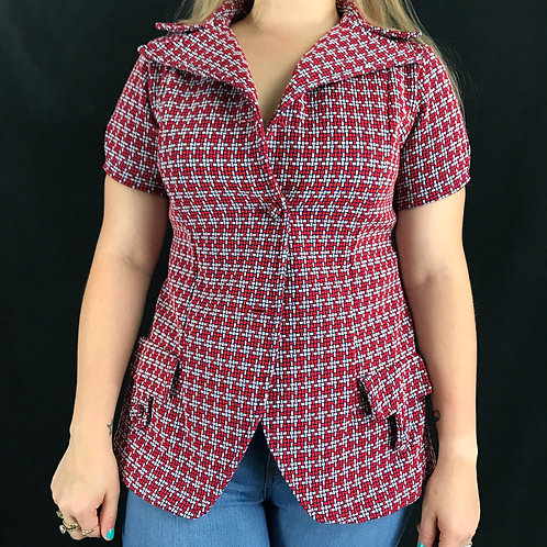 Red White And Black Geometric Polyester Top View 1