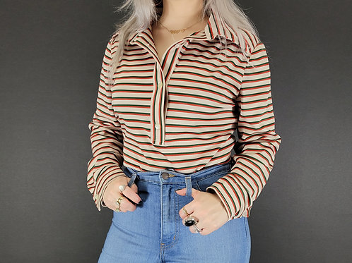 Striped Collared Long Sleeve Shirt View 1