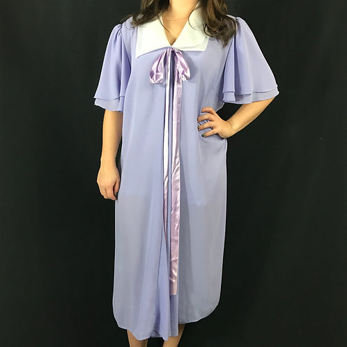 Sheer Lilac With White Collar Flutter Sleeve Dress View 1