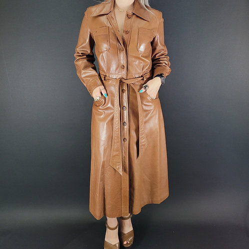 Brown Leather Trench Coat View 1