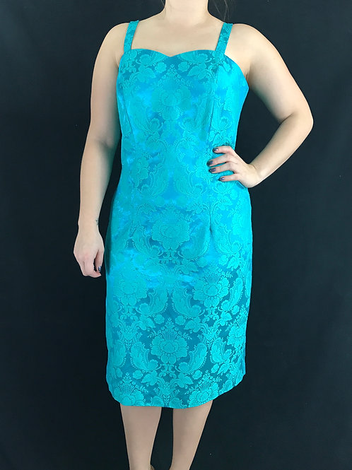 Turquoise Brocade Floral Sleeveless Dress With Sweetheart Neckline View 1