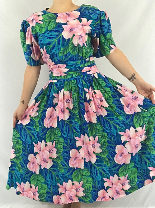 Pleated Floral Midi Dress With Puff Sleeves View 1