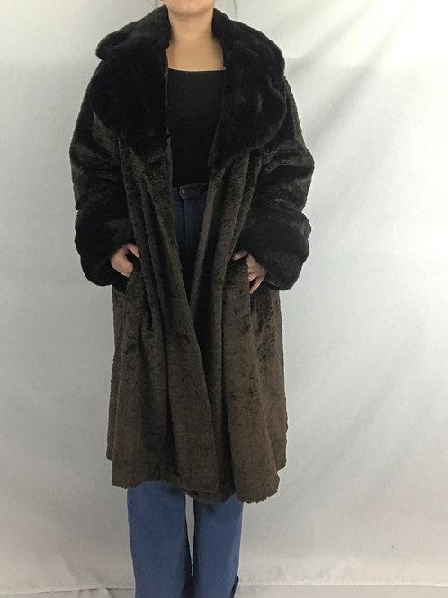 Brown With Black Trim Deep Pile Faux Fur Coat View 1