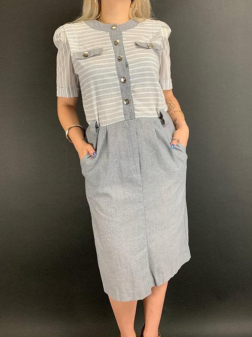Light Gray And White Striped Shirt Dress View 1