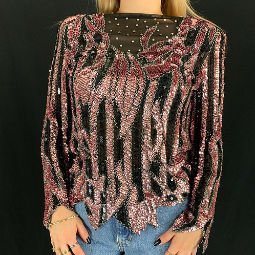 Black And Pink Sequin Long Sleeve Blouse View 1