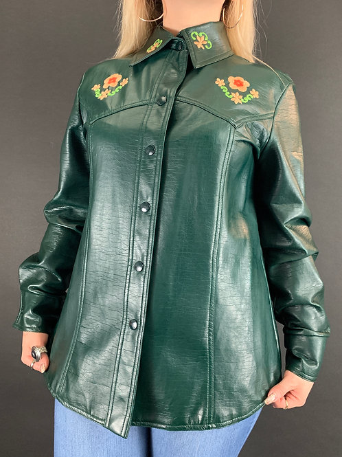 Dark Green Faux Leather Embroidered Floral Snap Button Down View 1