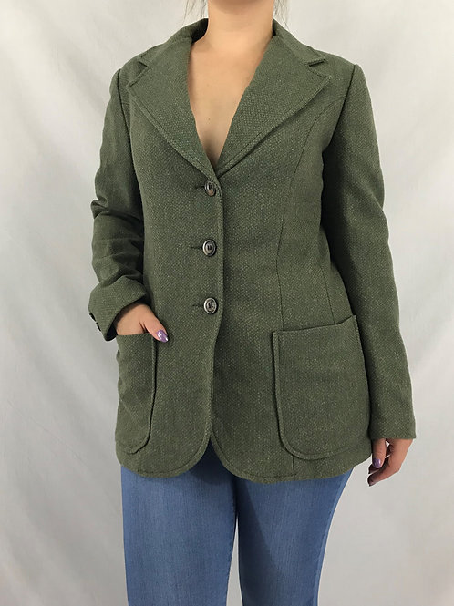 Green Tweed Blazer With Elbow Pads View 1