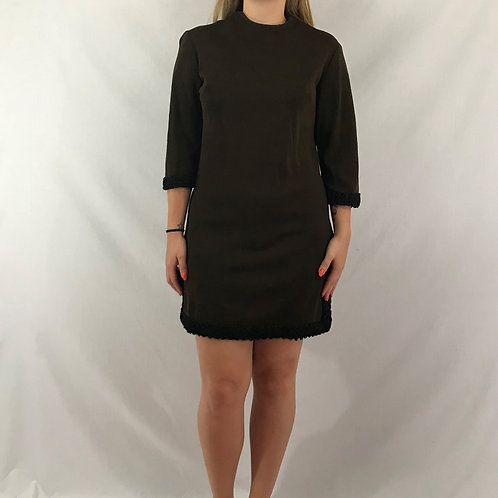 Dark Brown And Black Wool Mini Dress View 1