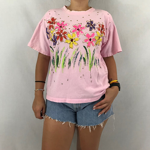 Pink T-Shirt With Hand Painted Flowers View 1