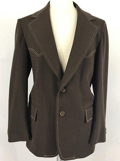 Men's Dark Brown With White Top Stitch Western Blazer Jacket View 1