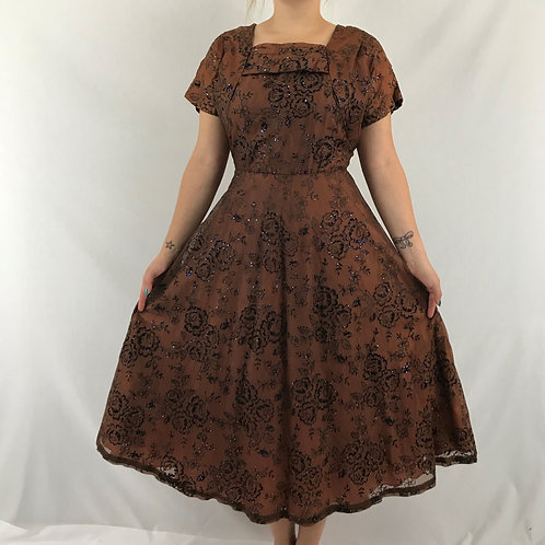Brown With Black Roses Print Midi Dress With Glitter Accents View 1