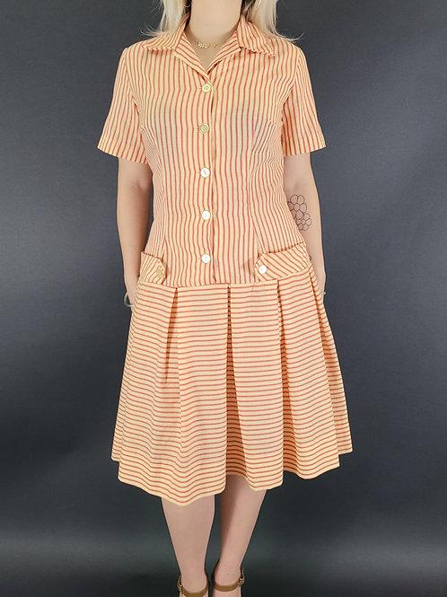 Striped Drop Waist Shirt Dress View 1