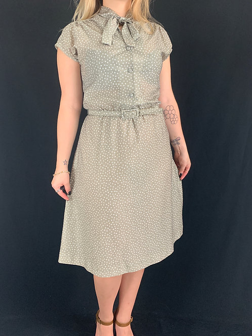 Taupe And White Tie Neck Shirt Dress With Belt View 1