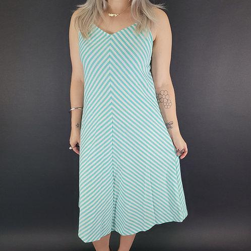 Turquoise And White Chevron Striped Sun Dress View 1