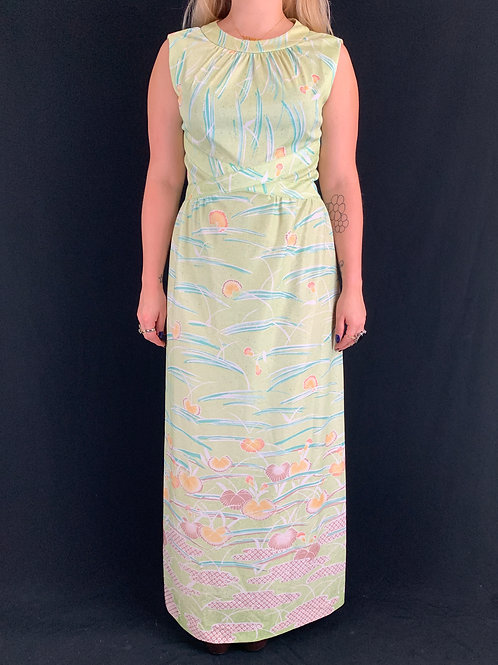 Mint Green Seashells Print Sleeveless Maxi Dress View 1