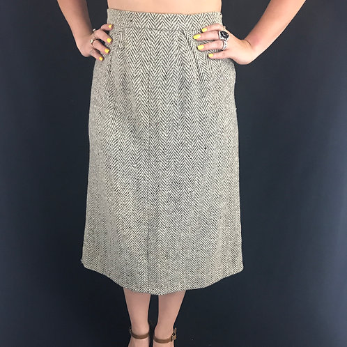 Tweed Back Pleated Midi Skirt View 1