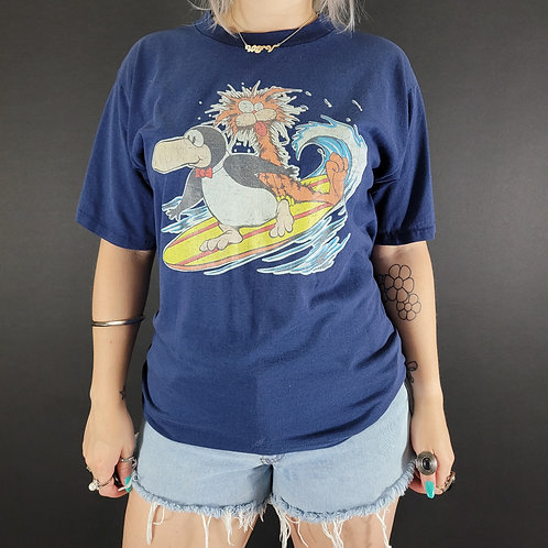 Navy Blue Bloom County Bill The Cat And Opus Surfing Graphic T-Shirt View 1