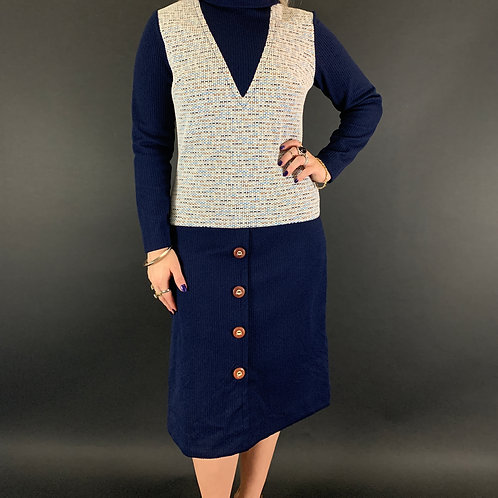 Navy Blue Mod Double Knit Polyester Long Sleeve Dress View 1