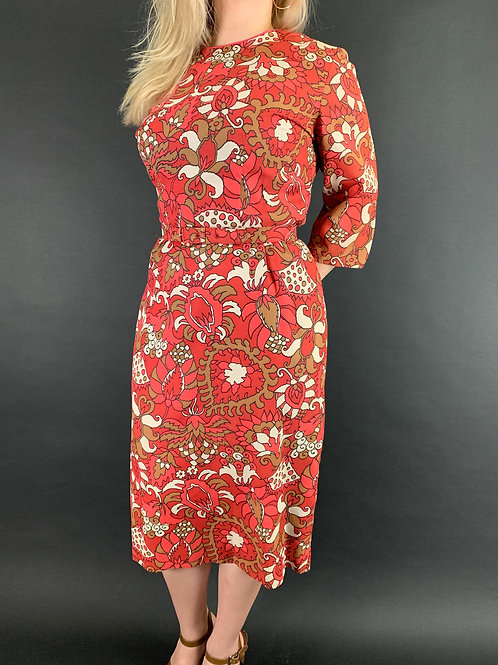 Abstract Floral Sheath Dress With Matching Belt View 1