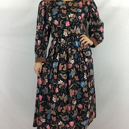 Dark Floral Long Sleeve Dress View 1