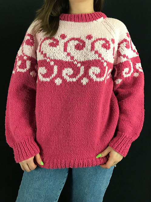 Pink Hand Knit Pullover Sweater View 1