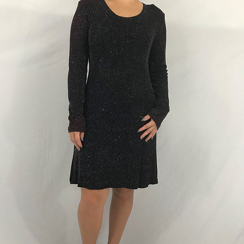 Black Sparkle Long Sleeve Dress View 1