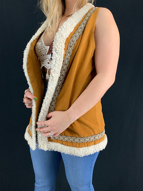 Burnt Orange Faux Trim Vest View 1