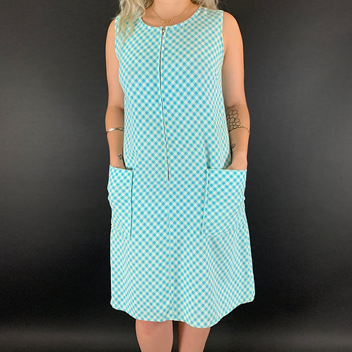 Aqua And White Gingham Sleeveless House Dress View 1