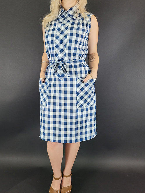 Navy Blue And White Gingham Front Zip House Dress View 1